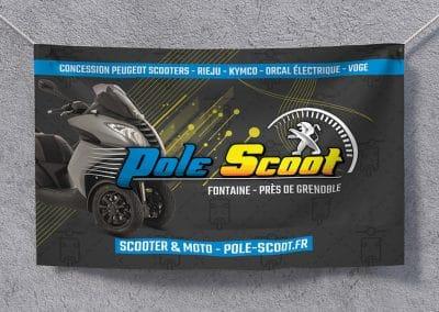 Photocall, toile publicitaire, bâche textile 3m x 2m – Pole Scoot Fontaine